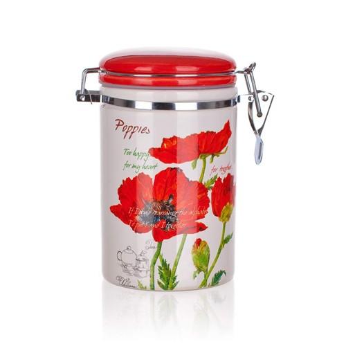 Csatos 750 ml pipacsos tároló porcelán