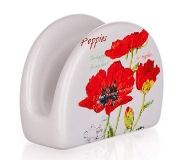 Szalvétatartó pipacsos porcelán