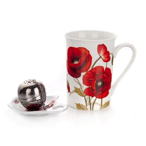 Teás szett pipacsos 3 r.porcelán+fém