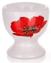 Lágytojás-tartó pipacsos porcelán